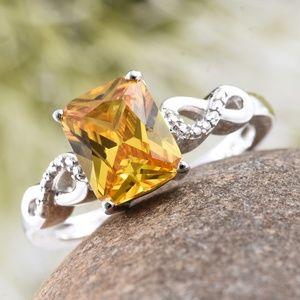 Simulated Yellow Diamond Platinum Bond Brass Ring
